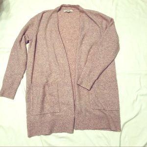 LOFT Cardigan Sweater Pale Pink Open Front Soft